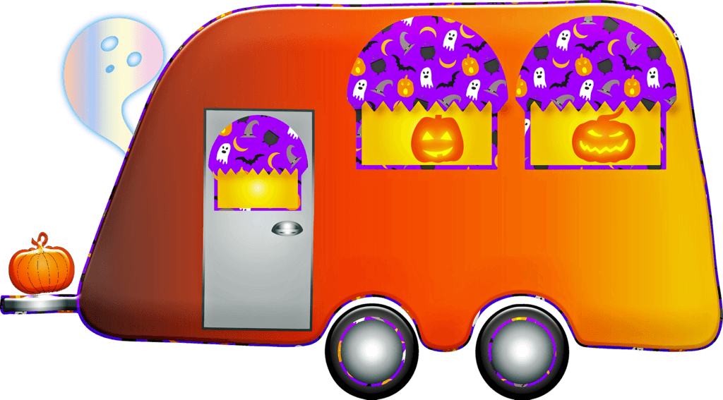 RV camper decorated for Halloween