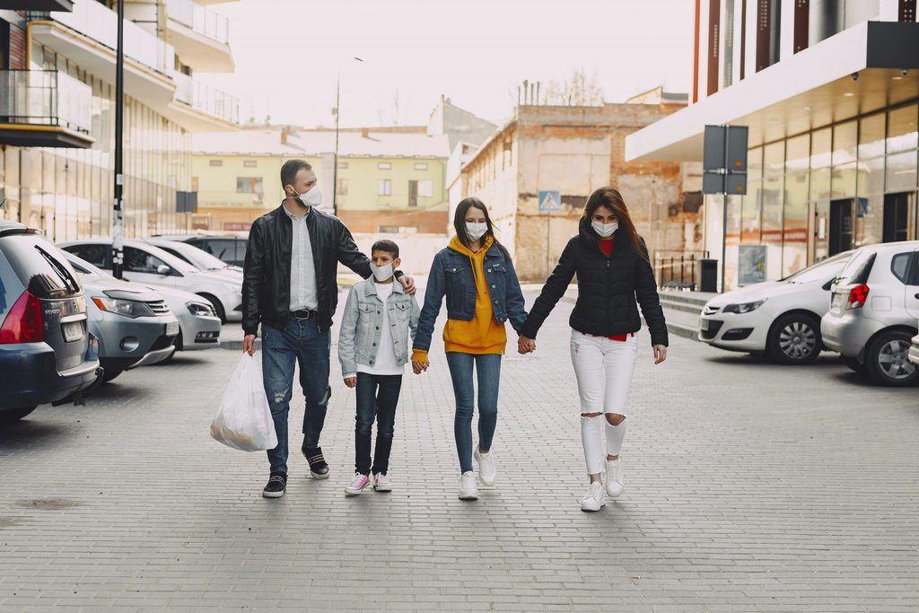Family in masks