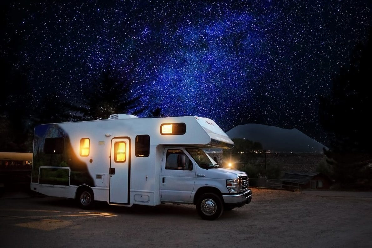 rv in the camping area during night