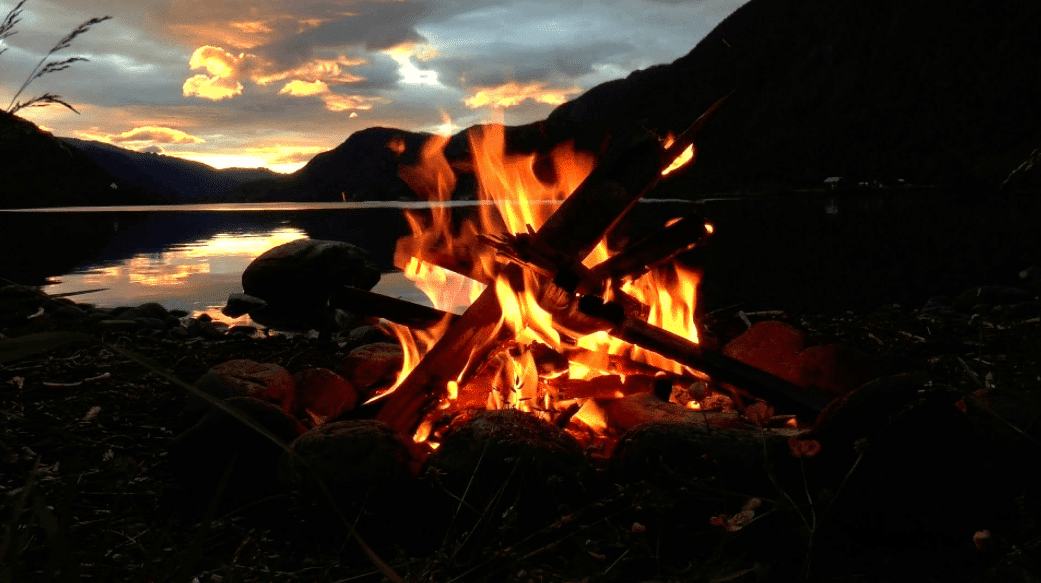 campfire during sunset
