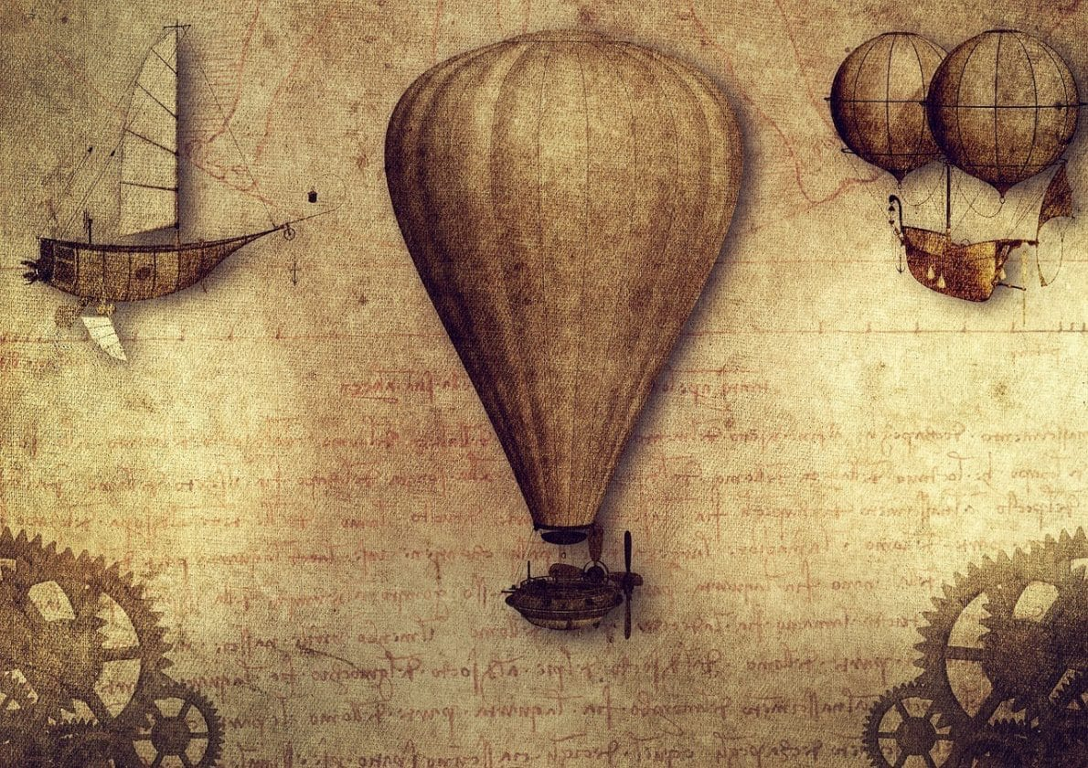 A brown diagram of several DaVinci inventions including a balloon, a boat, and some gears