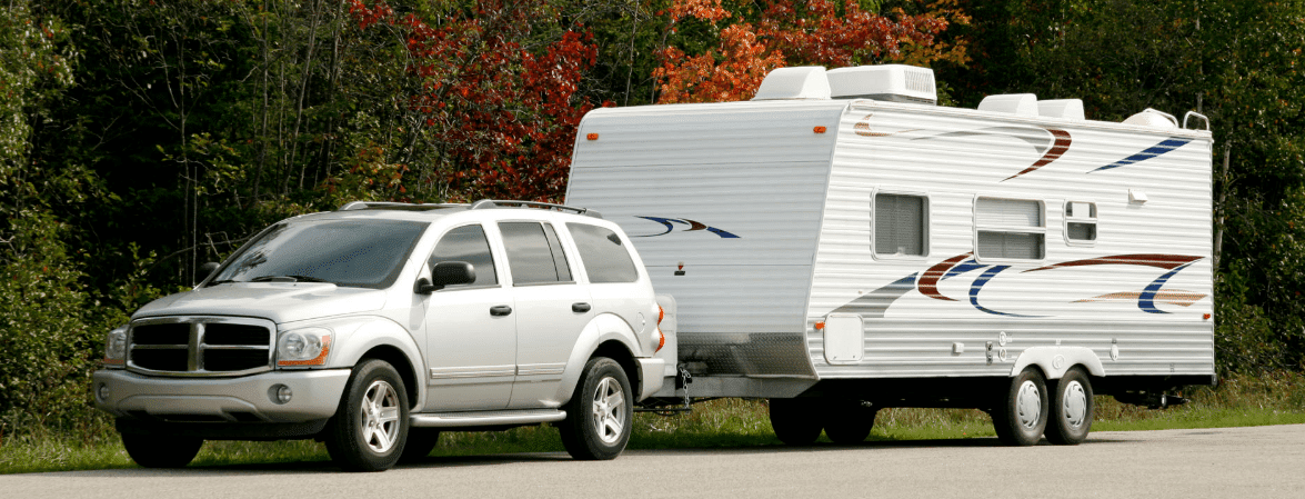 RV Tow Bar in the road
