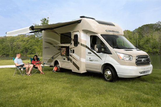 family on travel with white rv