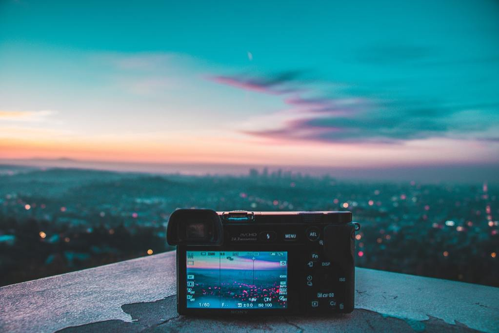 Camera taking picture of the city