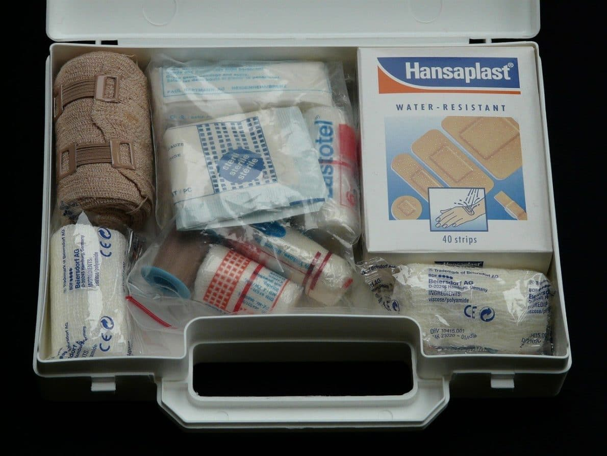 first aid kit in a luggage