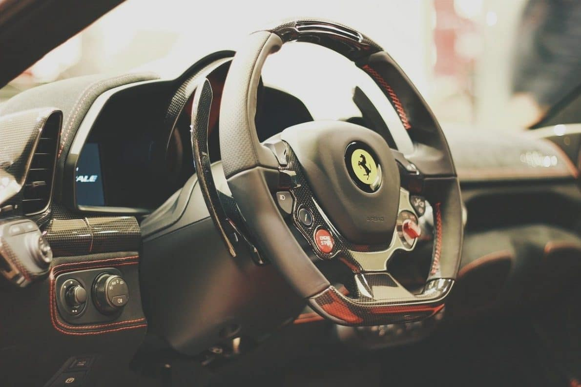 Steering wheel of a sports car