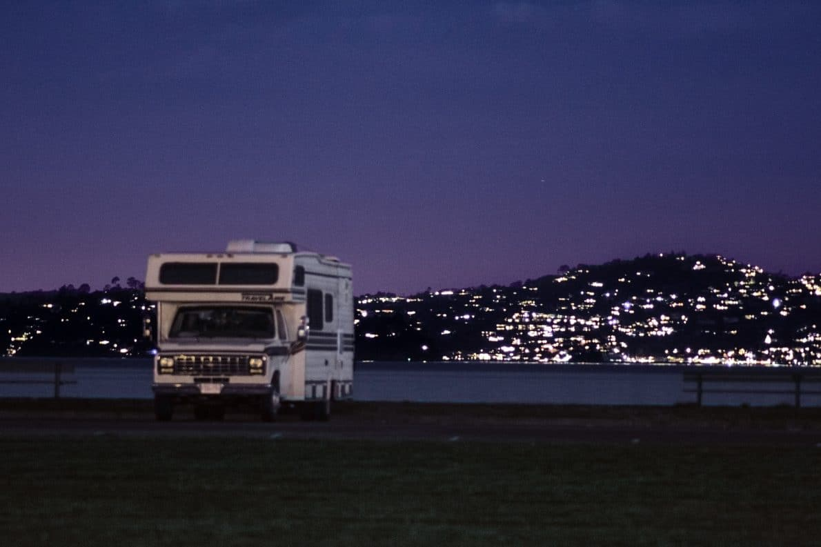 an rv parked on a lot