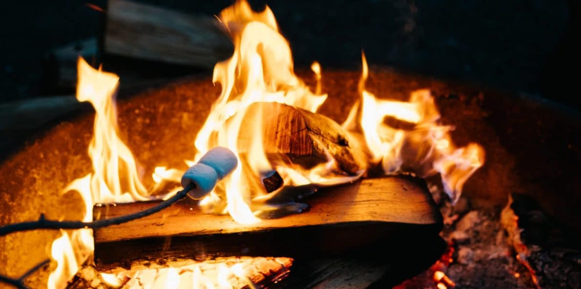 rv road trips mean snacks like roasted marshmallows over a fire